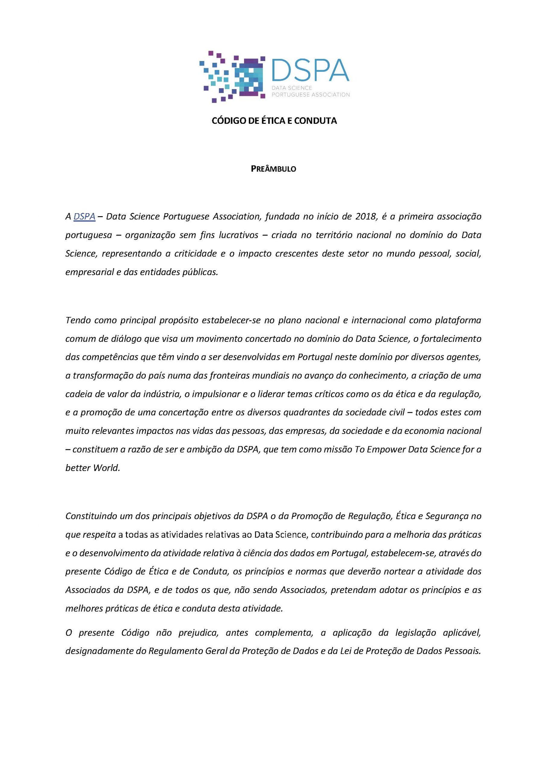 Código de Ética e Conduta da DSPA
